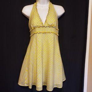 Yellow Gray Stripe Ruffle Halter Top M